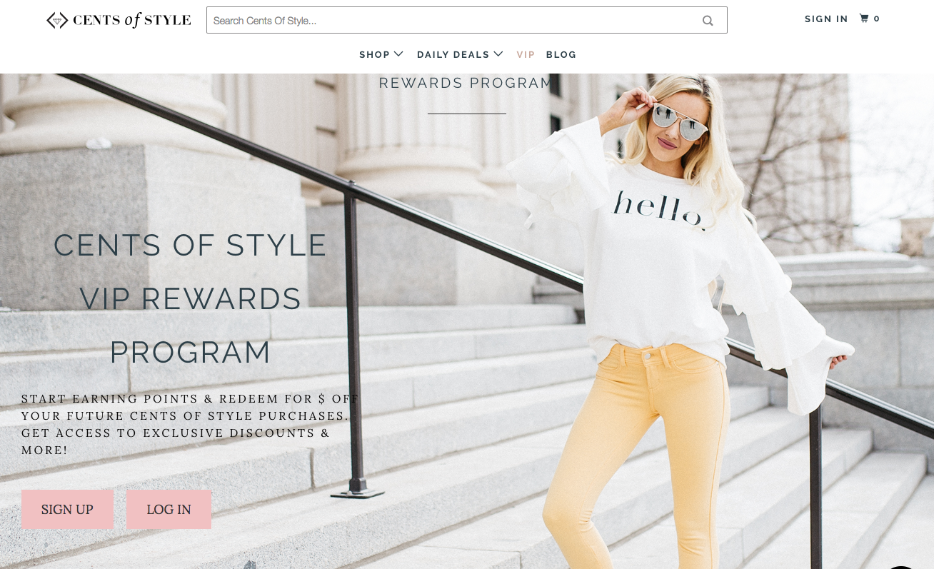 Fashion Examples - Cents of Style Rewards Banner -Woman on Stairs