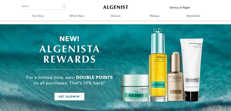 Algenista Rewards homepage CTA