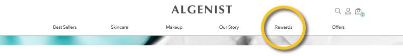 Algenist navigation bar CTA