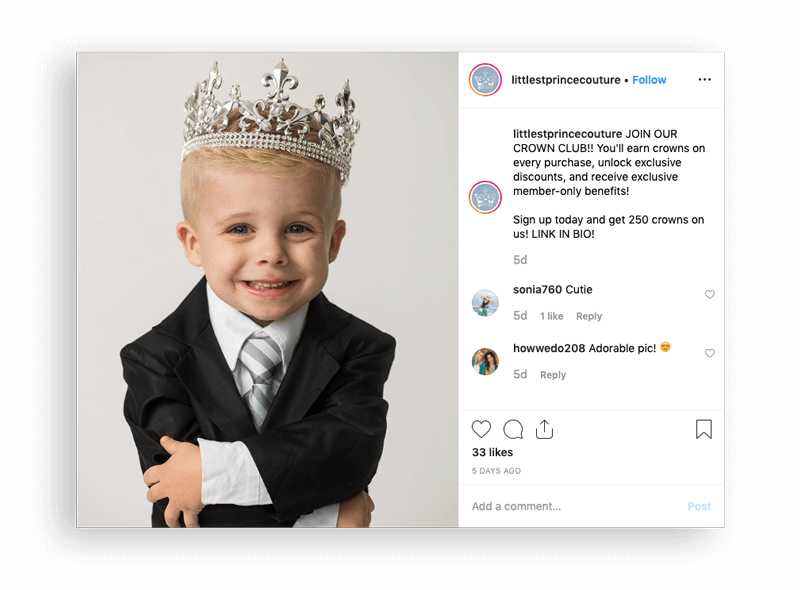 Littlest Prince Couture Instagram announcement