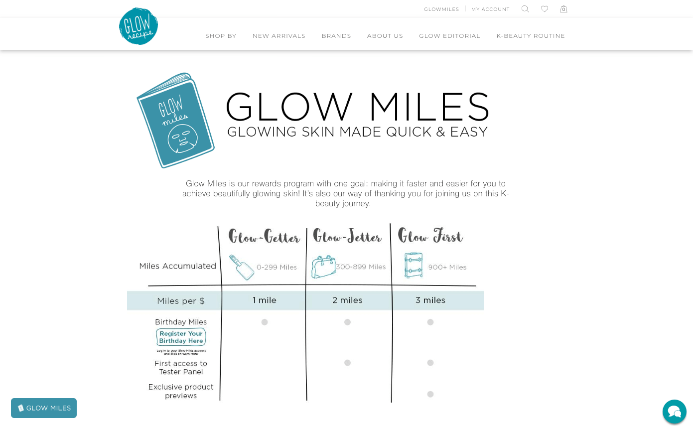 The Best eCommerce Loyalty Programs - Glow Recipes Glow Miles