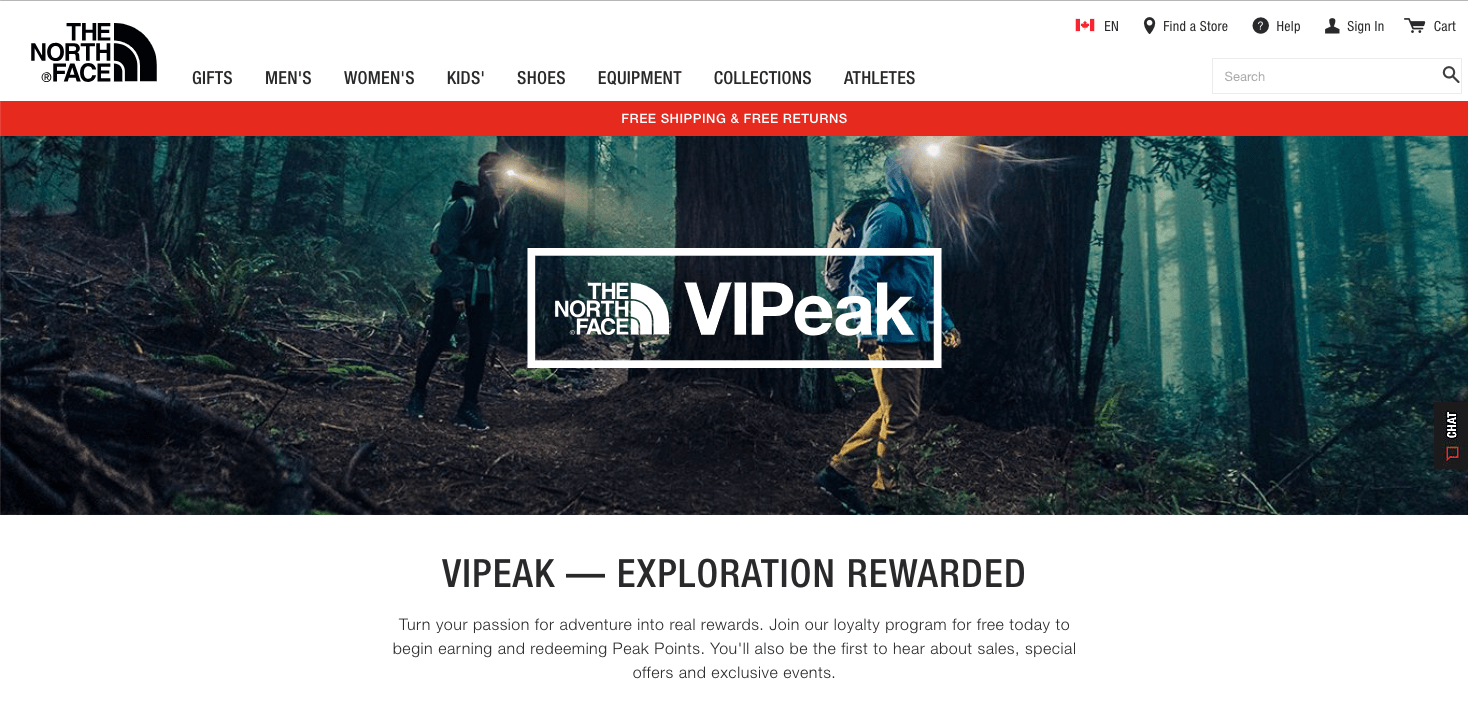 North Face VIPeak banner