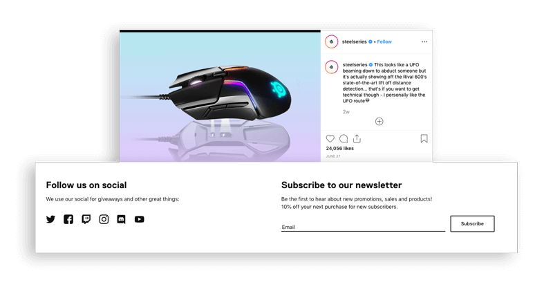 Steelseries newsletter and social CTA