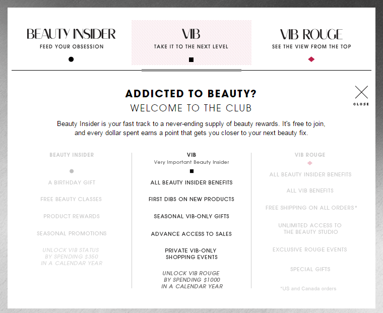 Exclusive Rewards Beauty VIB Sephora