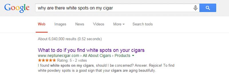 reciprocity cigar white spots research