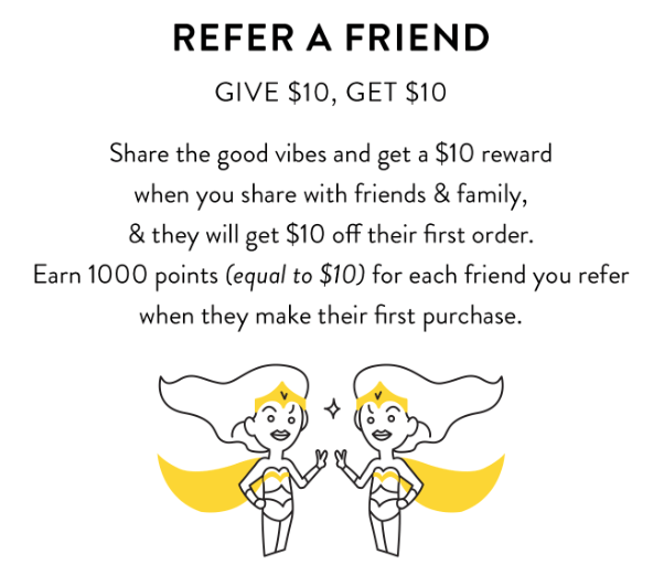 Examples Food and Beverage  - happyway refer a friend give $10 get $10