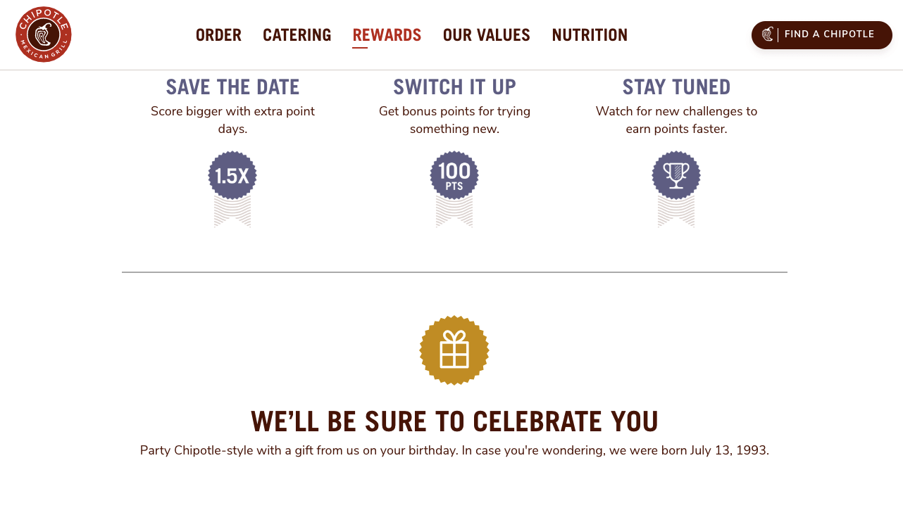 Examples Food and Beverage - chipotle bonus rewards