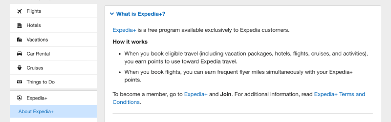 expedia+ FAQ description