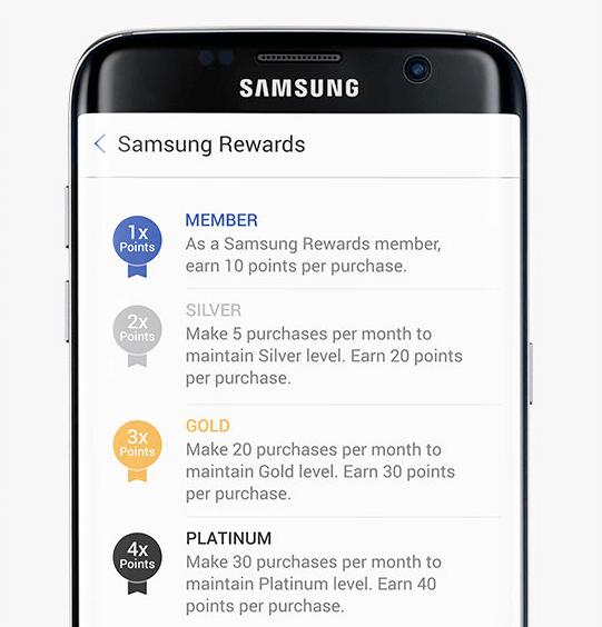 samsung rewards tiers phone view