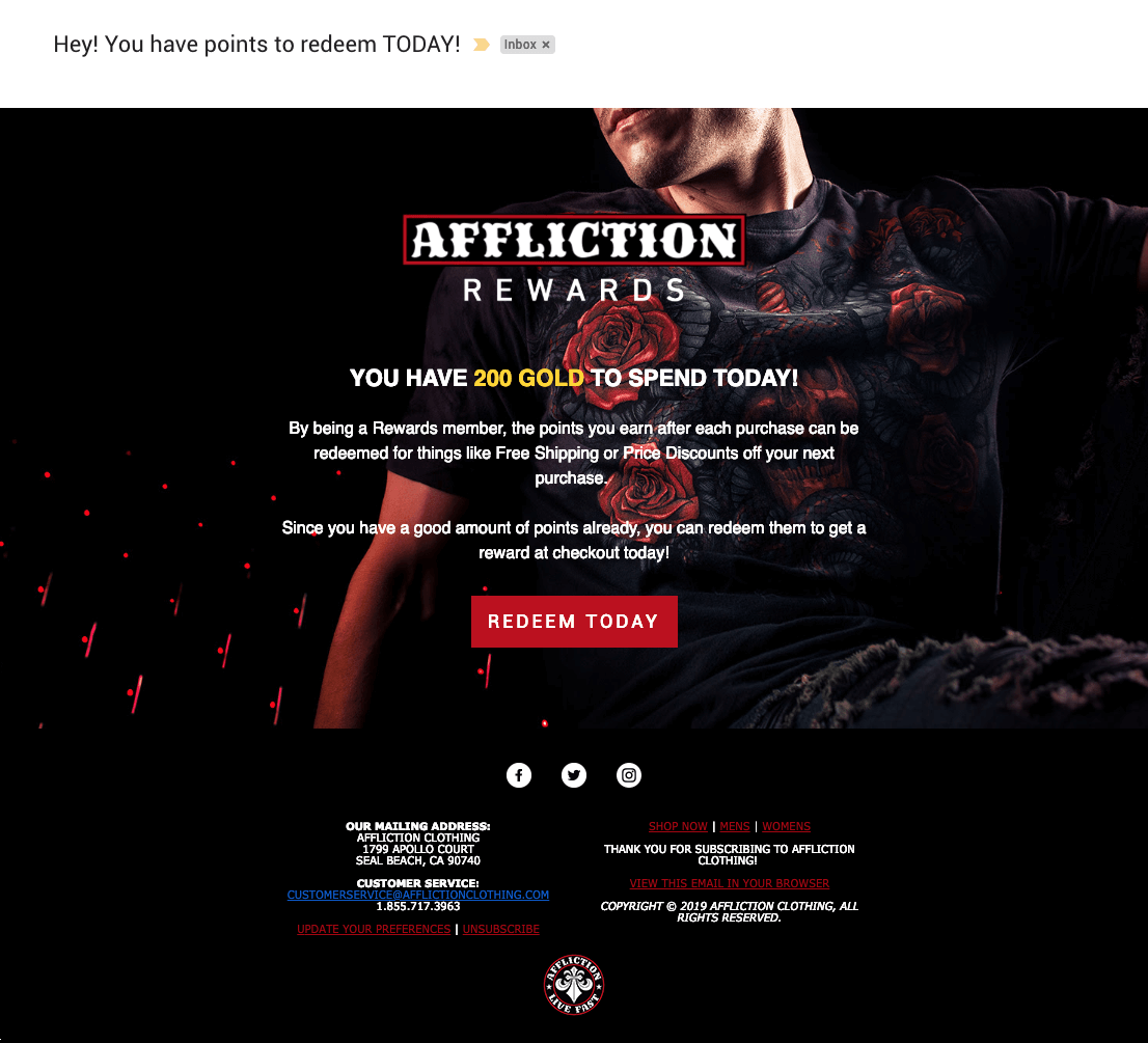 Affliction Rewards redemption campaign email