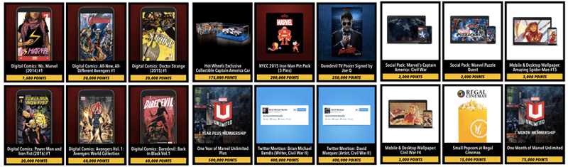 marvel insider available rewards