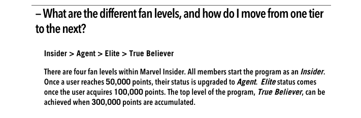 marvel insider faq tiers