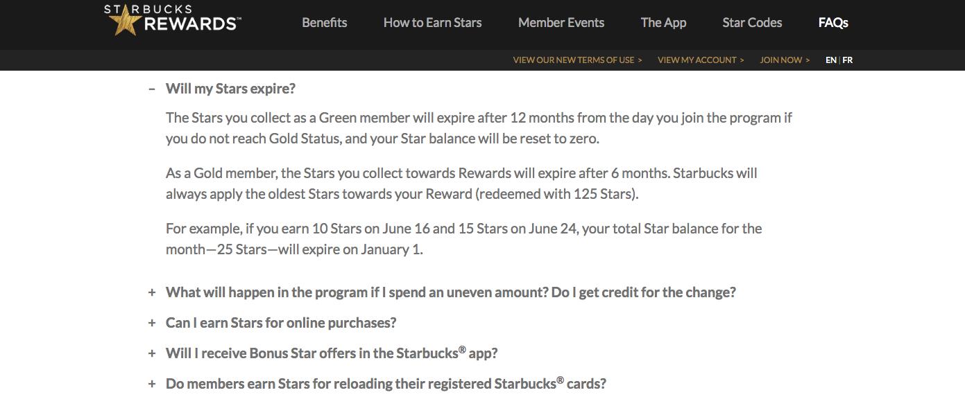 Starbucks Rewards Expiry