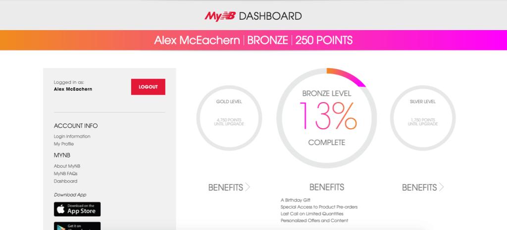 mynb new balance dashboard