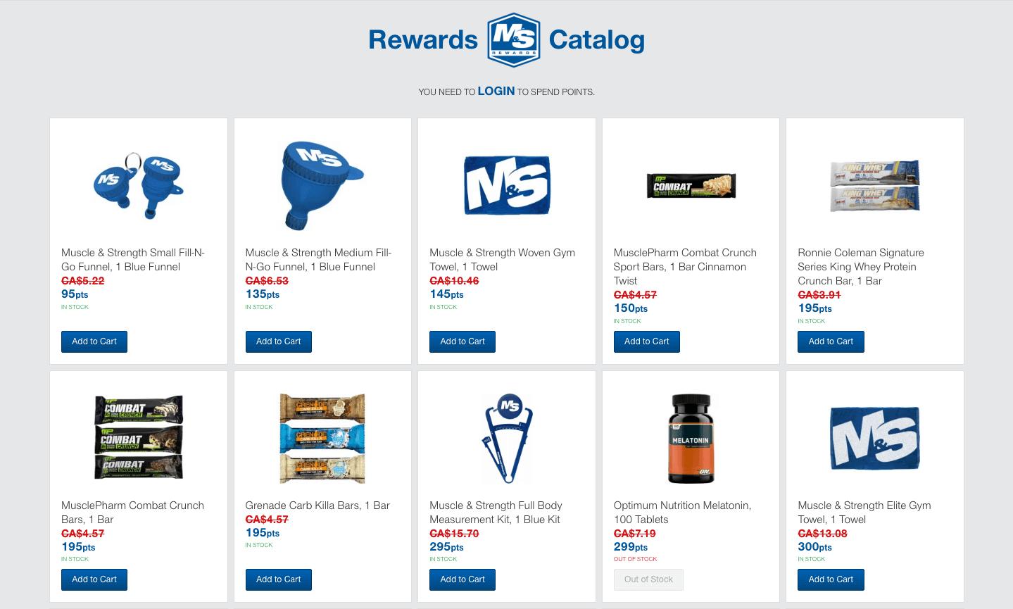 Muscle & Strength rewards catalog