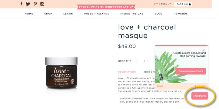 One Love Organics rewards panel