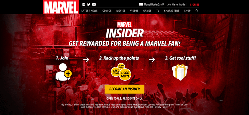 ecommerce loyalty pages marvel
