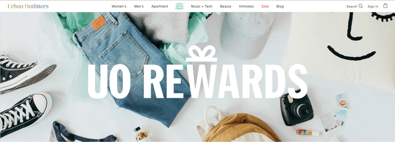 ecommerce loyalty pages urban outfitters