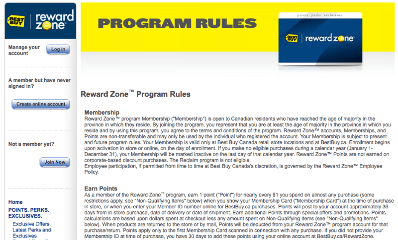 reward zone program rules