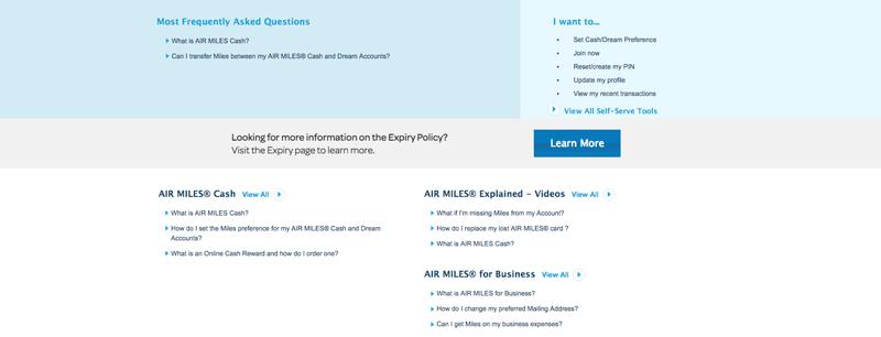 customer centric loyalty FAQ page