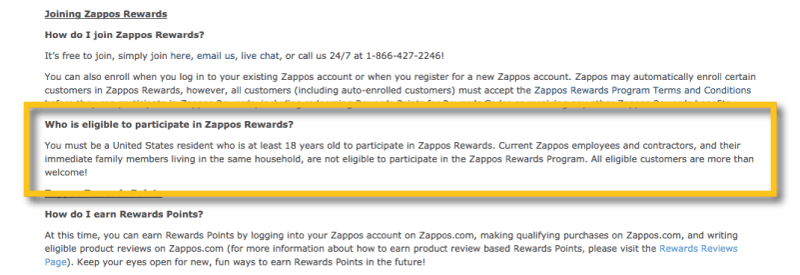 zappos rewards US only