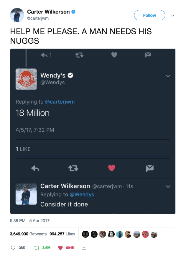 Wendy's gave carter one of the best rewards with a lifetime supply of nuggets