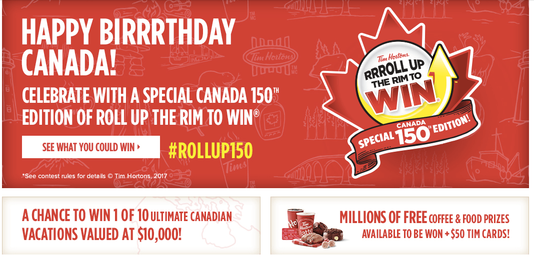 Tim Horton's Roll Up The Rim provides customers swith some pretty sweet rewards every year