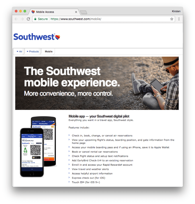 Southwest Airlines Mobile Experience