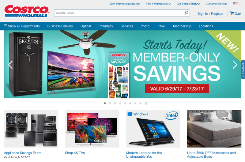 costco memberships homepage