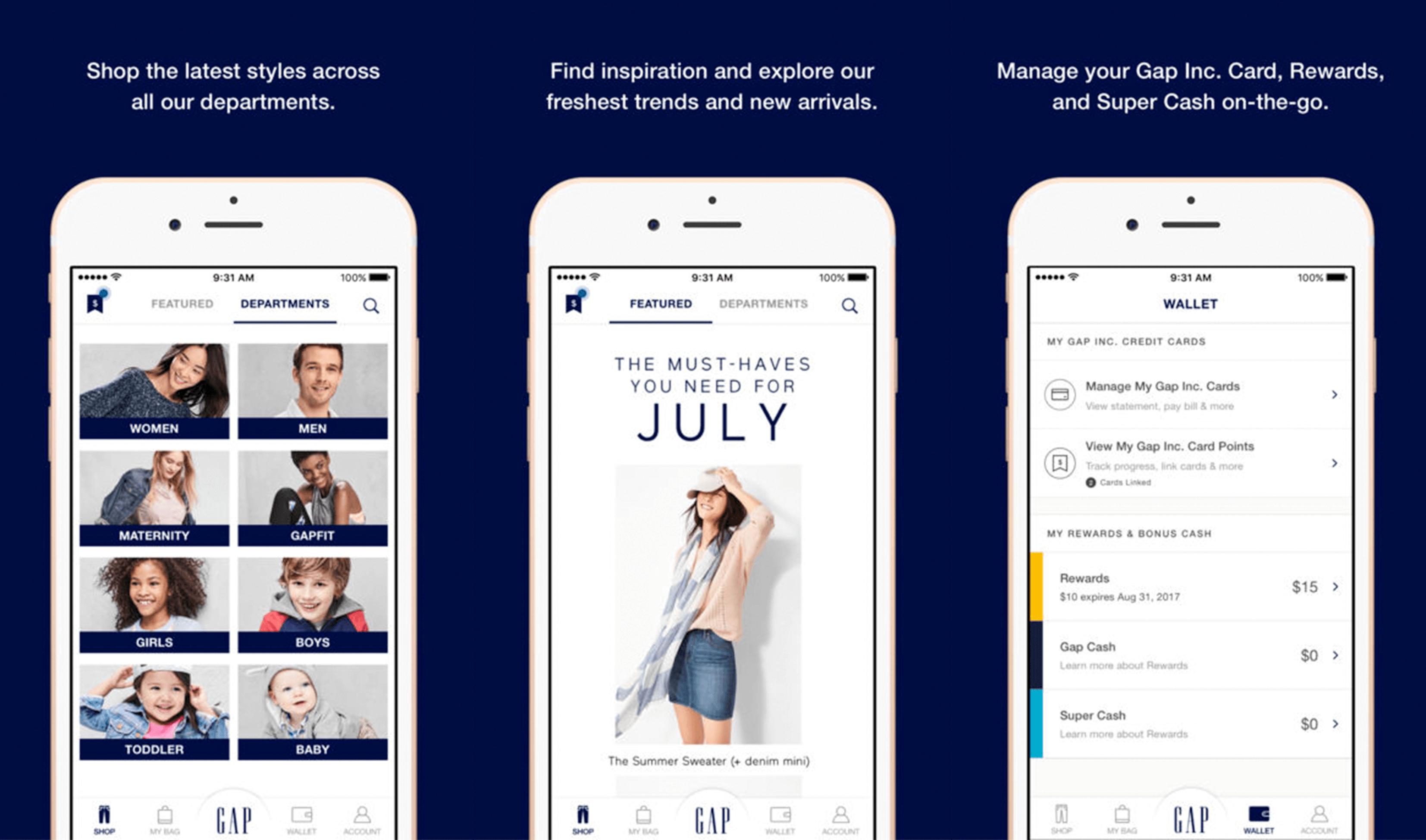 Gap mobile application