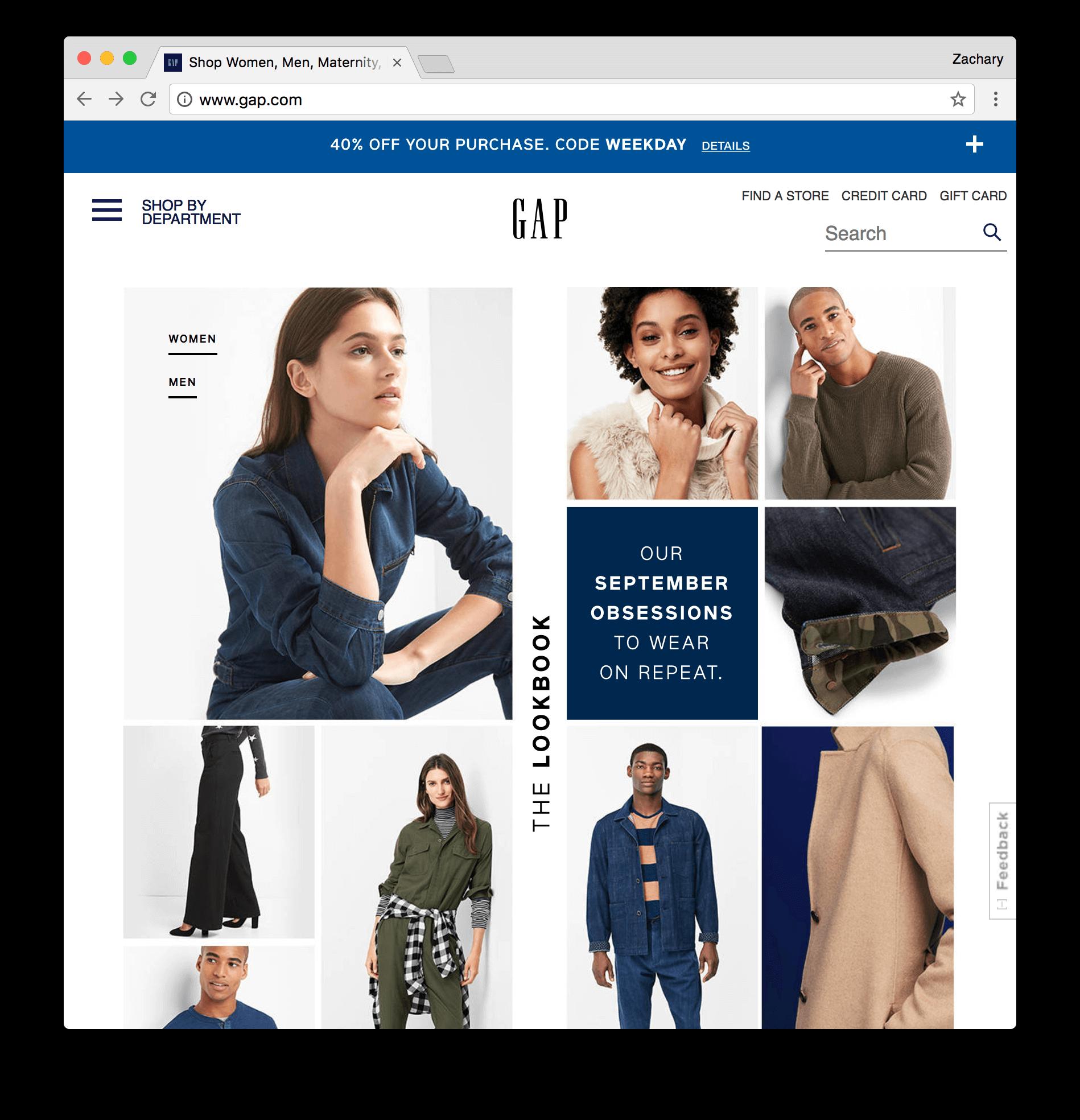 Gap homepage