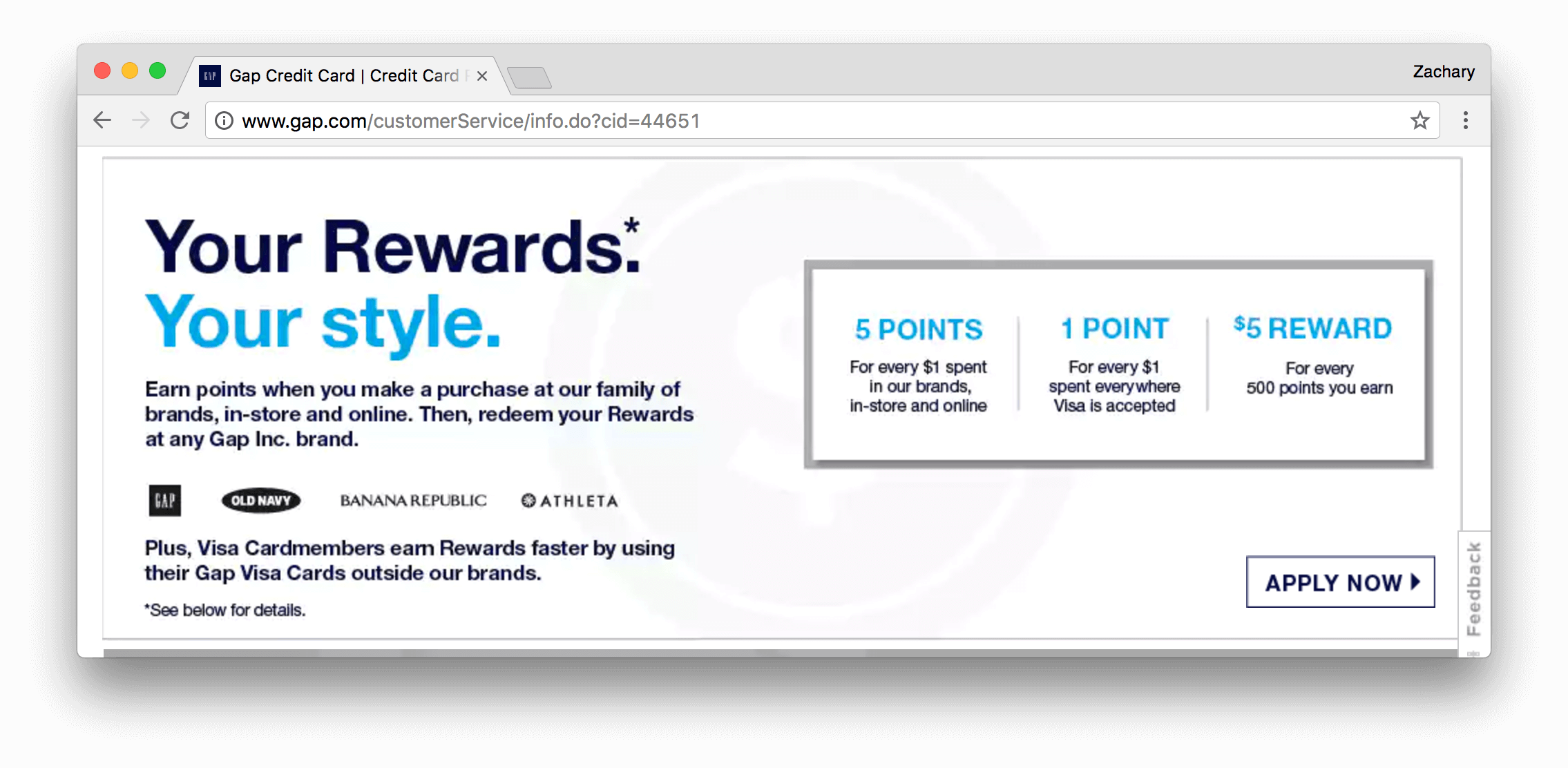 Gap Visa Card points earning and redemption