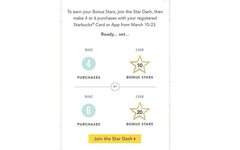 Starbucks bonus points email