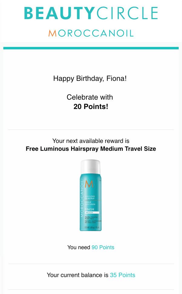 Moroccanoil birthday email