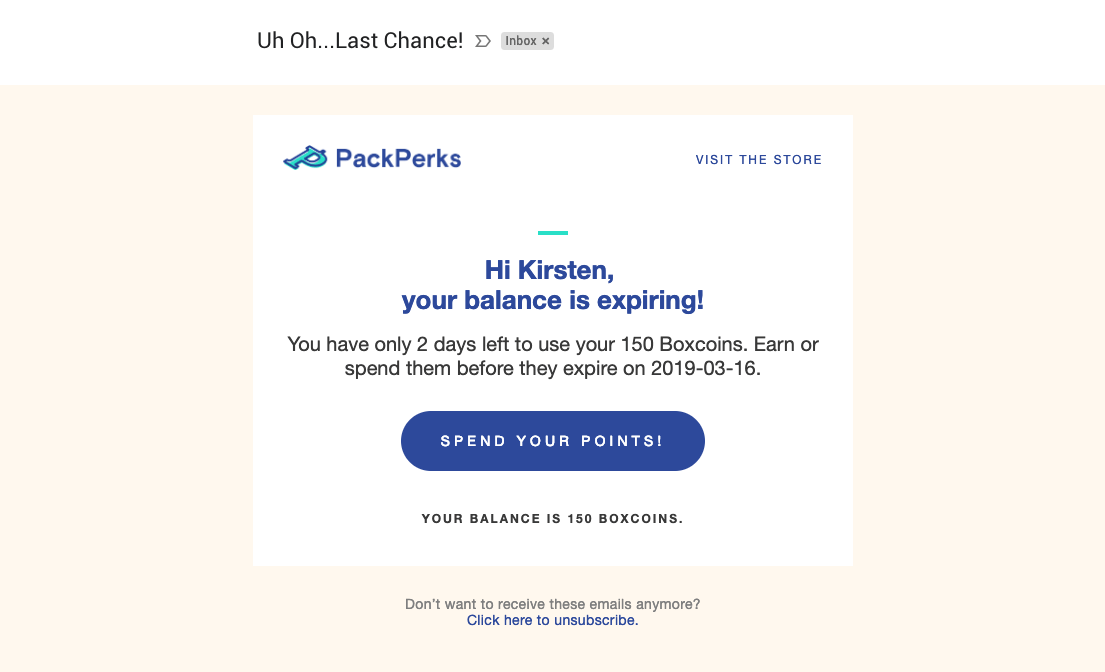 Packlane redemption email