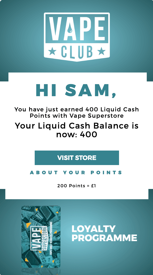 Vape Superstore points earned email