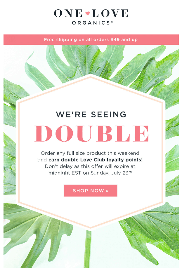 improve email marketing one love organics bonus campaign example