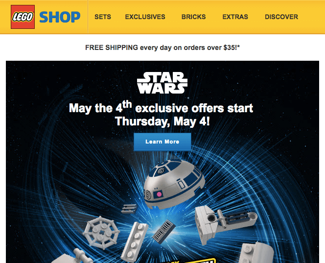 LEGO VIP program email no personalization