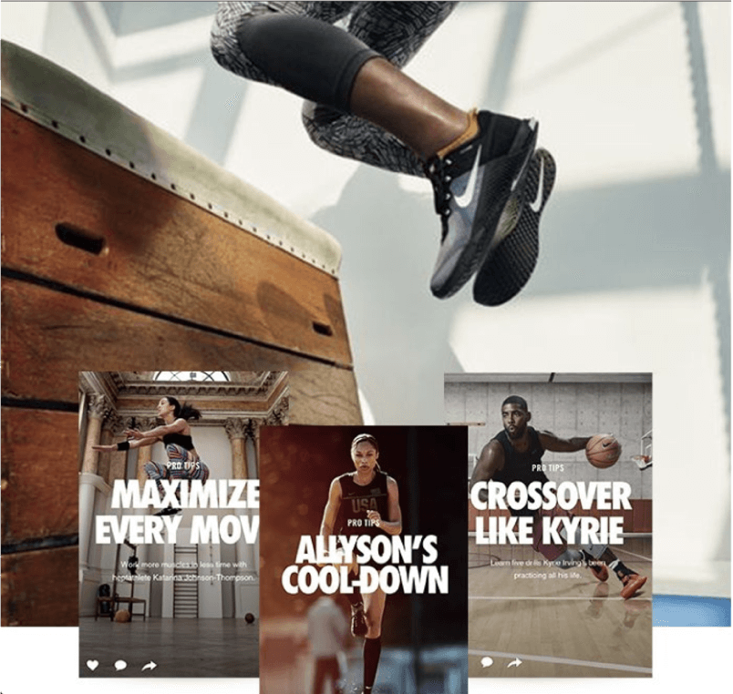 The images and copy on the Nike+ site are designed to reinforce the brand