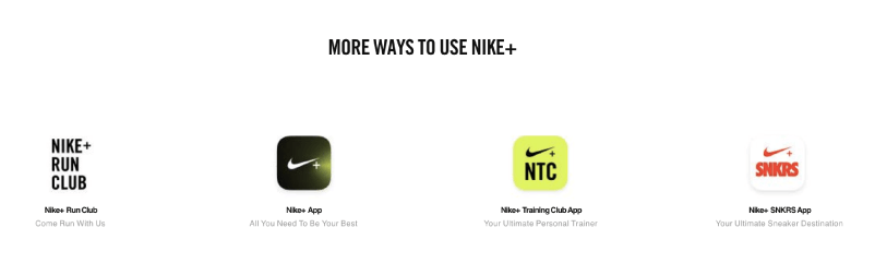 Nike+ has five separate apps that members can engage with