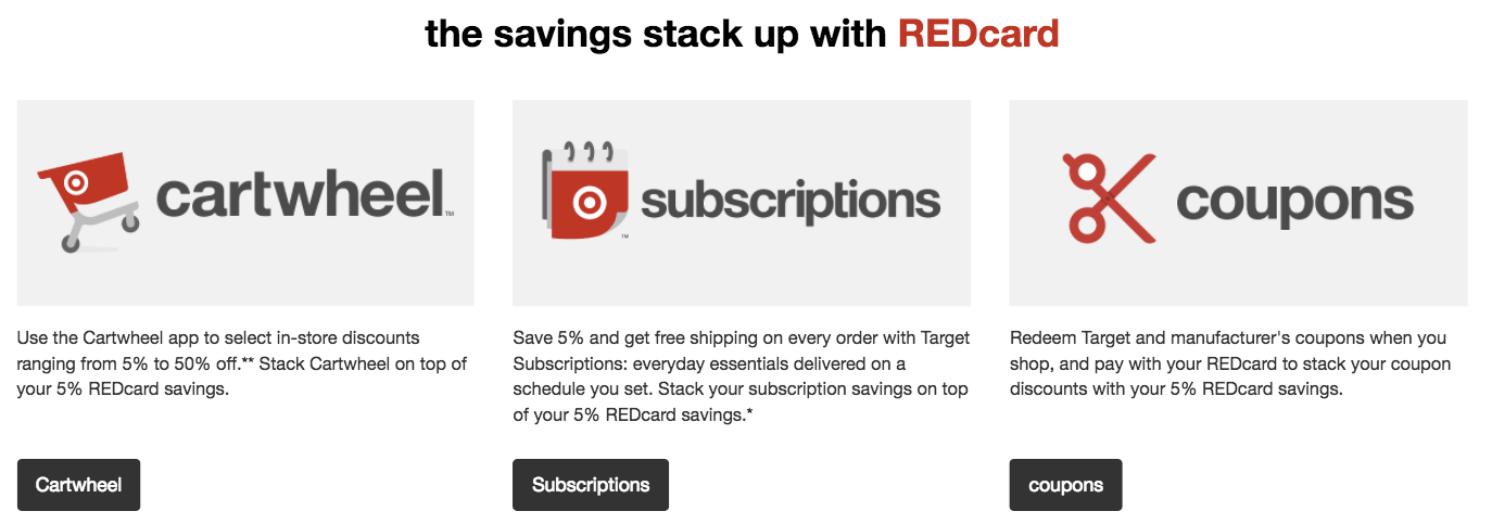 Target's REDcard rewards program has many parts- including cartwheel and subscriptions