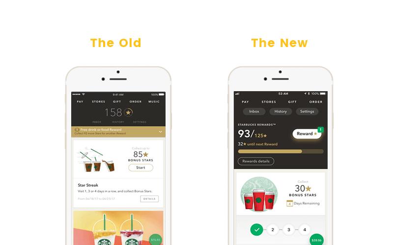 Starbucks Old vs. New Rewards Display