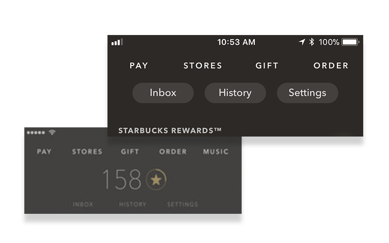 Starbucks New App Navigation