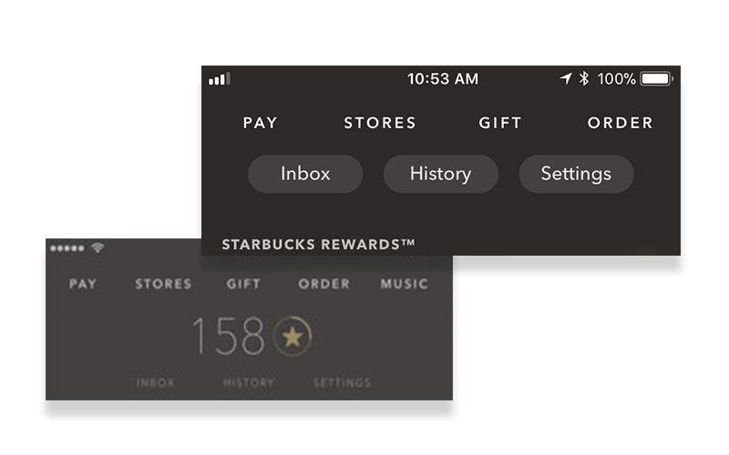 Starbucks New App Navigation
