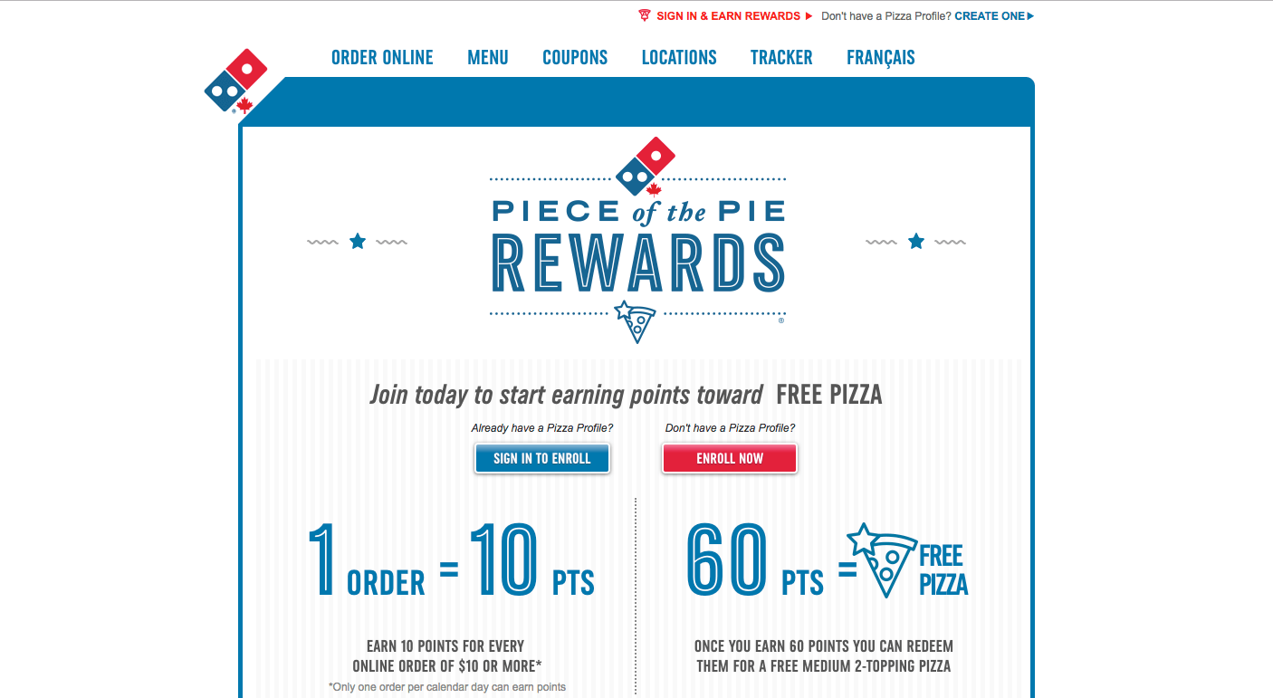 Creative Rewards Program Names Dominos Piece of the pie rewards program main page