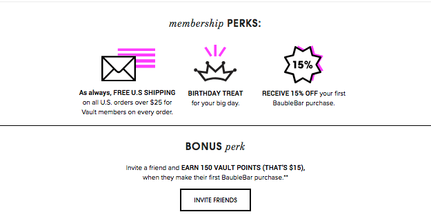 Creative Rewards Program Names Baublebar the Vault membership perks