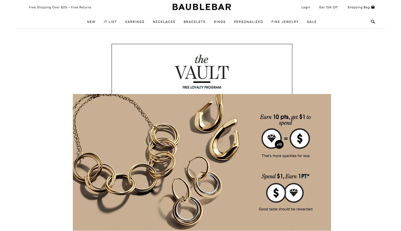 Creative Rewards Program Names Baublebar the vault sign loyalty program