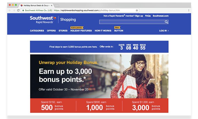 Southwest Rapid Rewards holiday bonus points