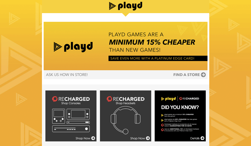 EB Games playd social responsibility landing page