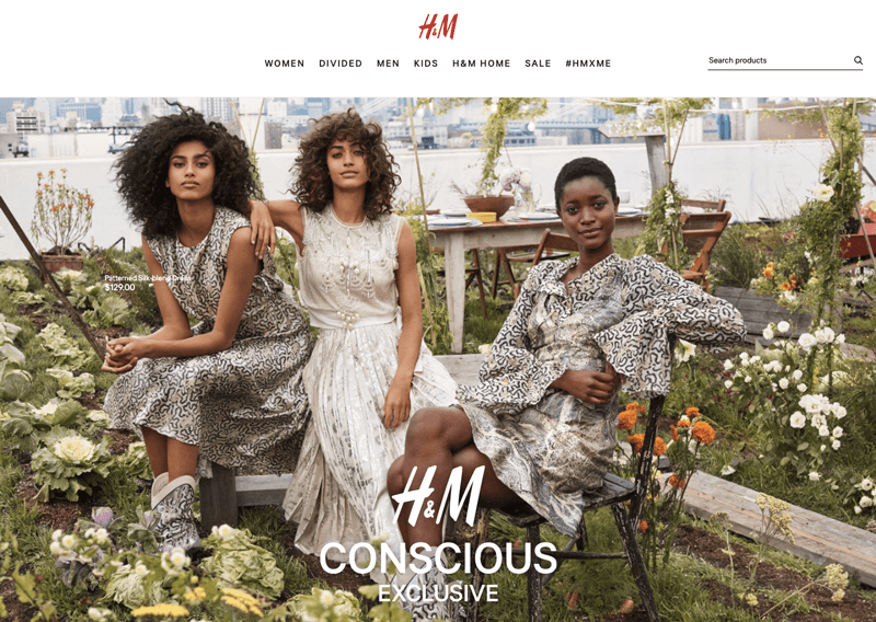 H&M Conscious social responsibility landing page